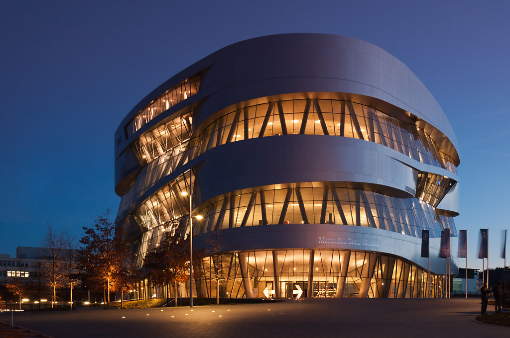 Mercedes-Benz Museum in Stuttgart, Germany, during blue hour